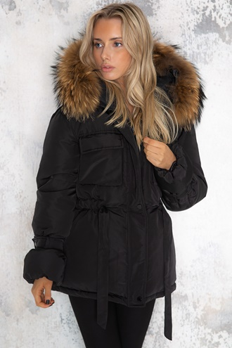 Black padded jacket with fur collar - Jerusalema