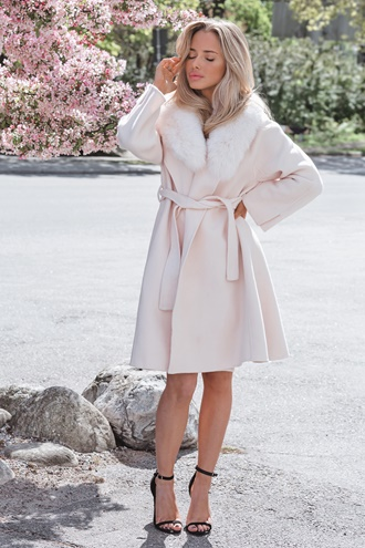 Long virgin wool coat - New York (Off Pink)