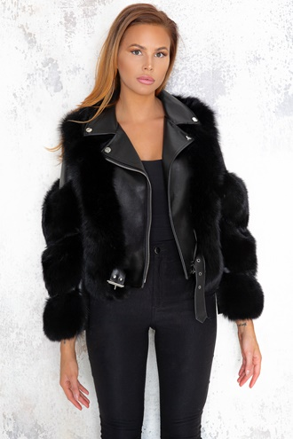 Hanna Leather/Fur Biker Jacket - Black