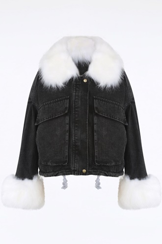 Denim jacket with faux fur - Kayla