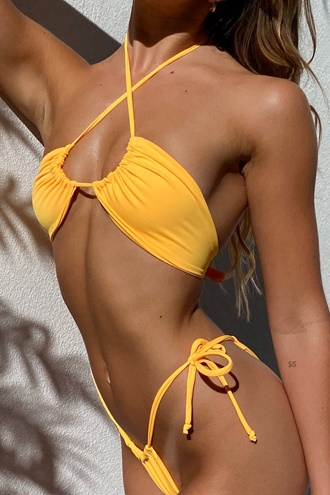 String Tie Bikini Set - Yellow