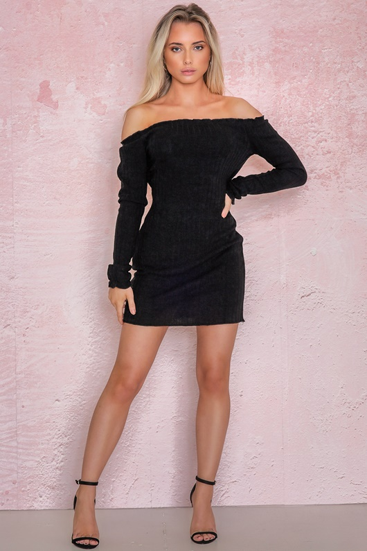 DM Basic Kendra Knitted Dress - Black