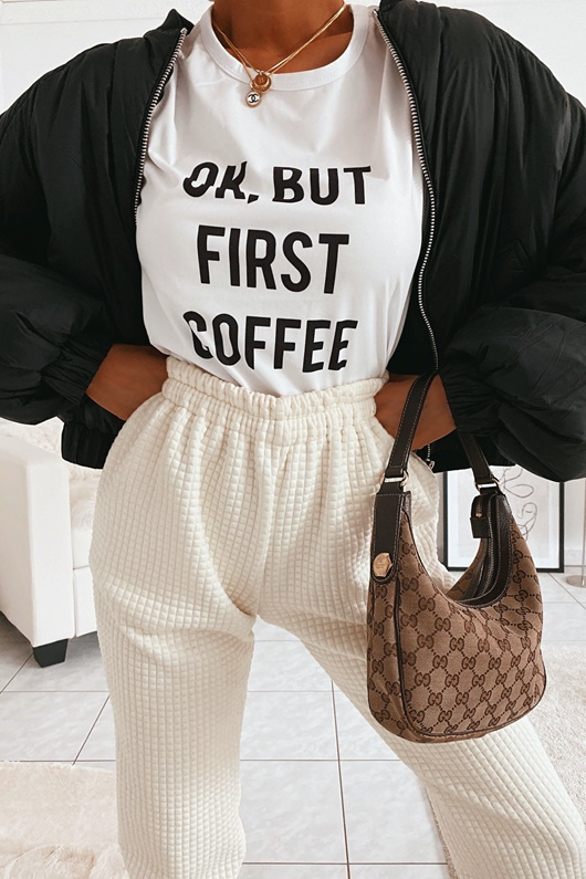 DM Basic Ok But First Coffee T-shirt