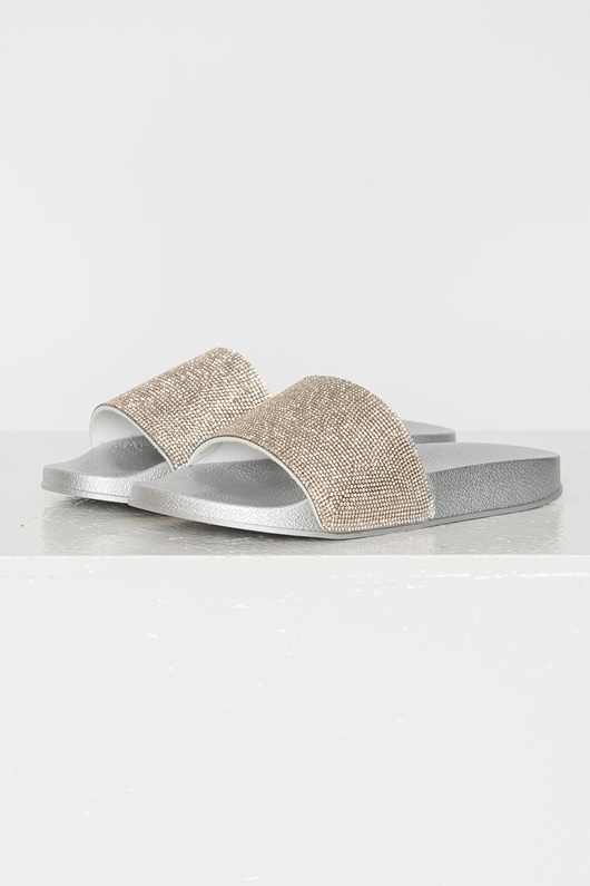 DM Crystal Slippers - White Silver