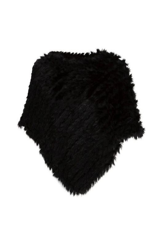 DM Fur Poncho - Black