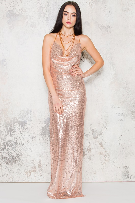 DM Kendall Maxi Dress - Rose Gold