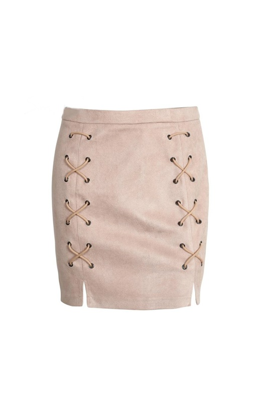 DM Lace Up Skirt - Nude