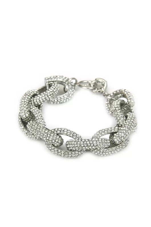 DM MAN Armband med bling - Diamond Chain Link Silver