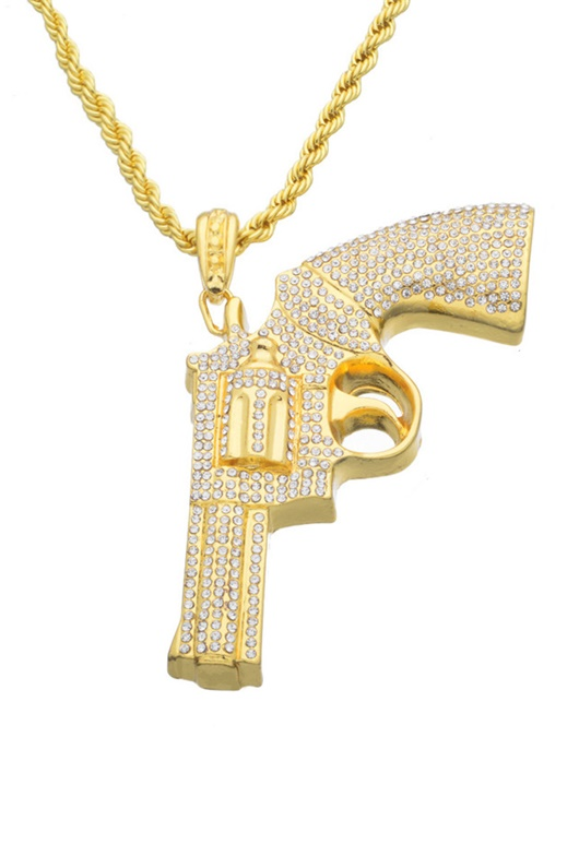 DM MAN Halsband - Iced Out Pistol Gold