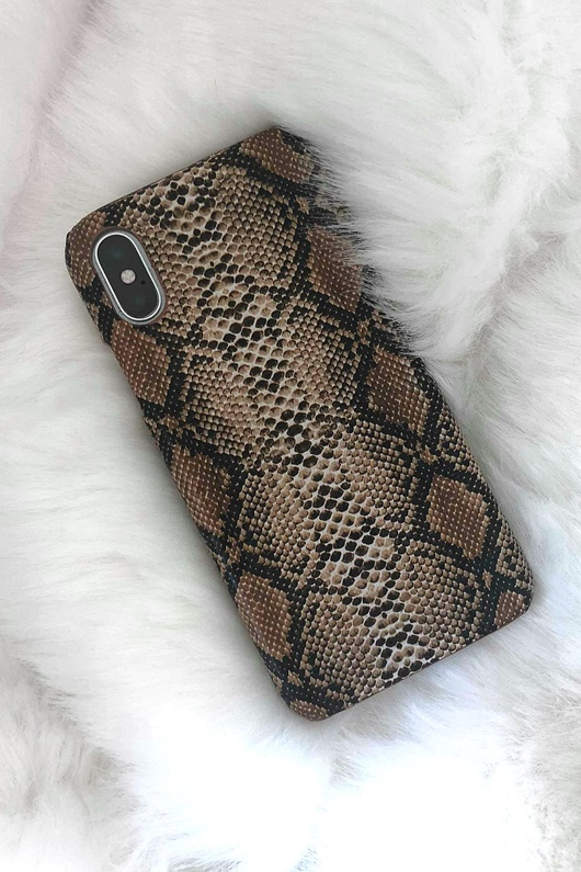 DM Snake Print Case - Brown