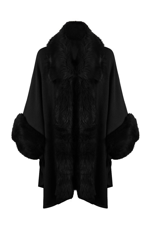 DM Black fake fur poncho - Dilara