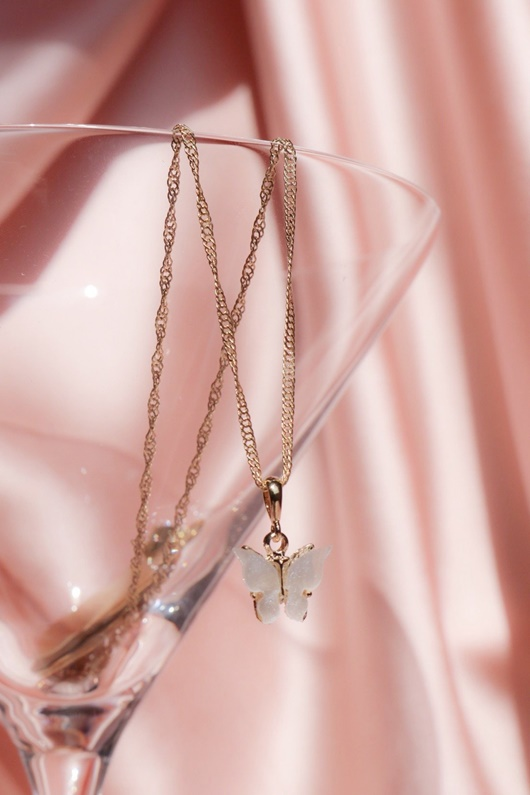 DM Butterfly Necklace - Pearl