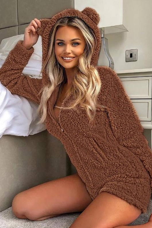 DM Mörkbrun playsuit - Teddy Bear