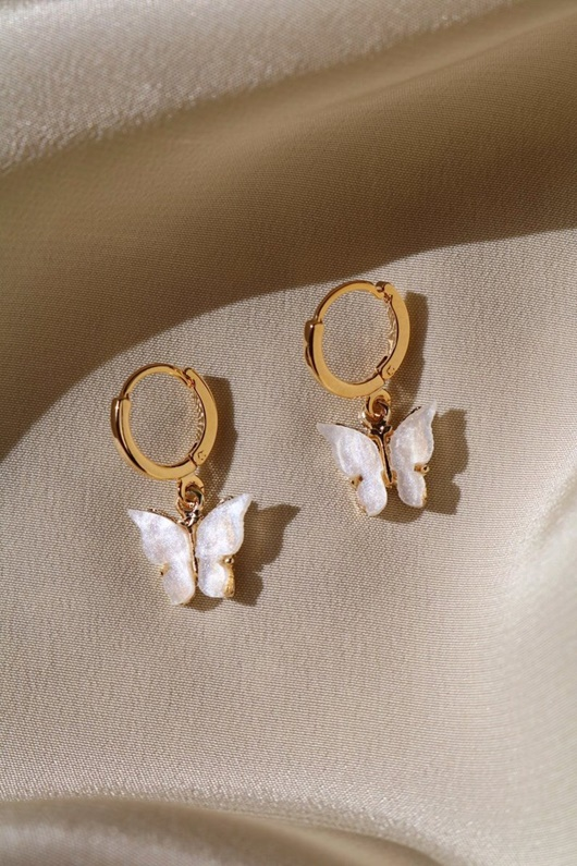 DM Butterfly Earrings - Pearl
