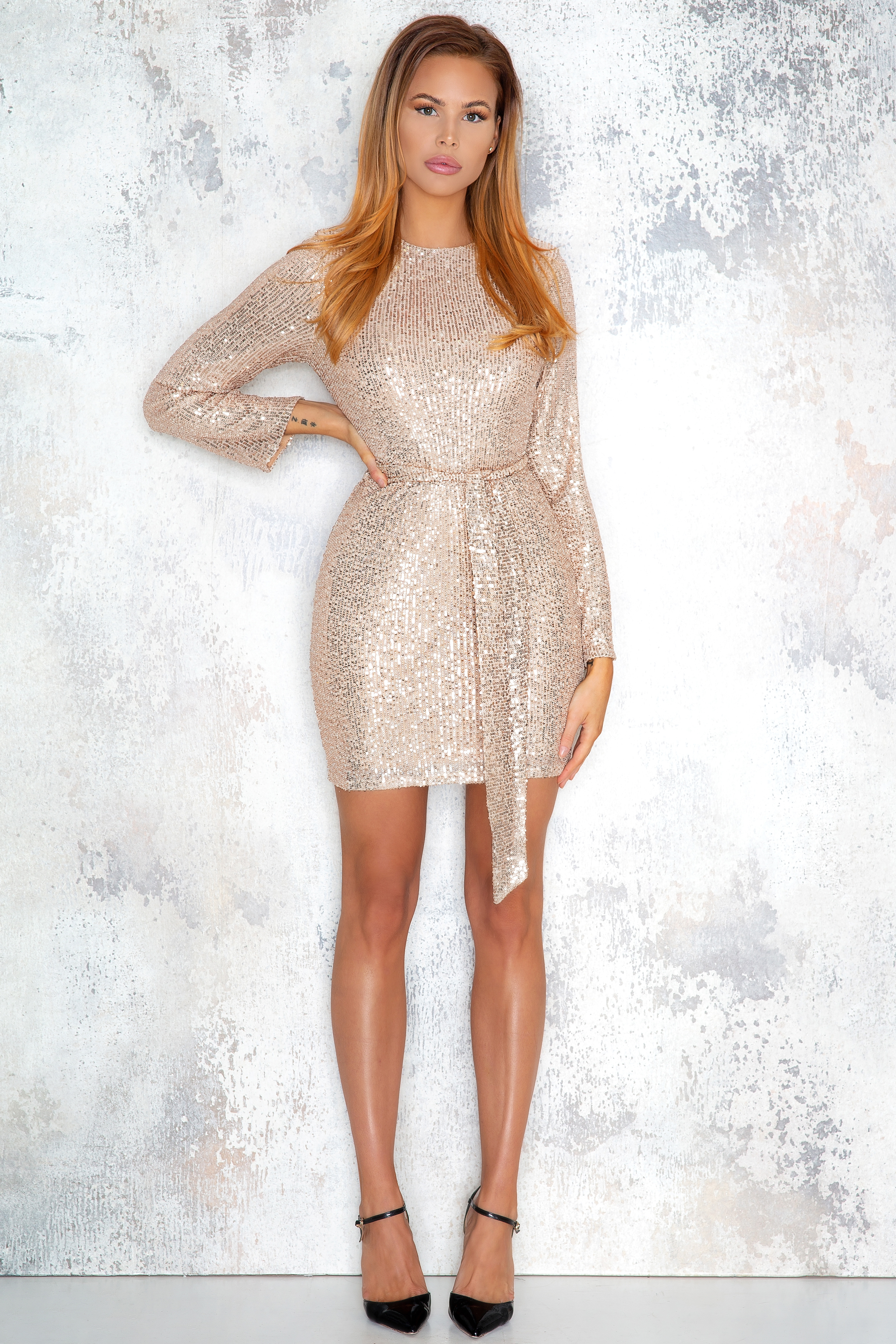 Exclusive gold colored sequin dress   Normani
